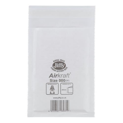 Jiffy Airkraft Bag Bubble-lined Size 000 Peel and Seal 90x145mm White Ref JL-000 [Pack 150]