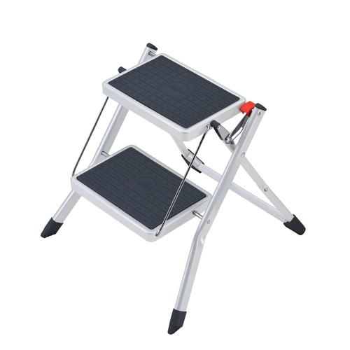 5 Star Facilities Mini Stool/Ladder Two Step Steel Folding Single Sided Load Capacity 150kg