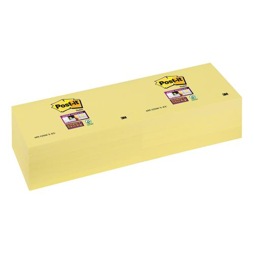 Post-it Super Sticky Removable Notes Pad 90 Sheets 76x127mm Canary Yellow Ref 655-12SSCY-EU [Pack 12]
