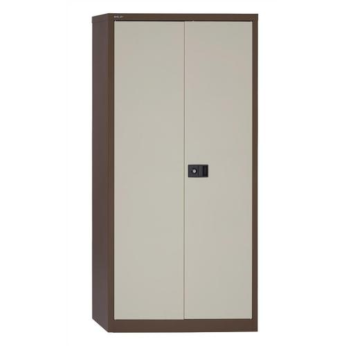 Trexus Two Door Steel Storage Cupboard 914x400x1806mm Coffee/Cream Ref 395025