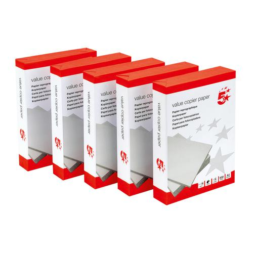 5 Star Value Copier Paper Ream-Wrapped A4 White [5 x 500 Sheets]  397921
