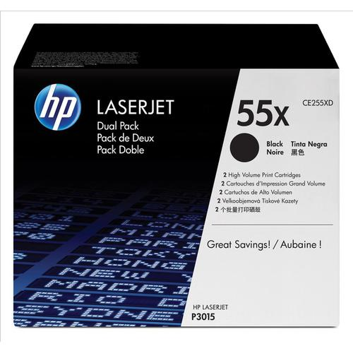 HP 55X Laser Toner Cartridge HY Page Life 12500pp Black Ref CE255XD [Pack 2]