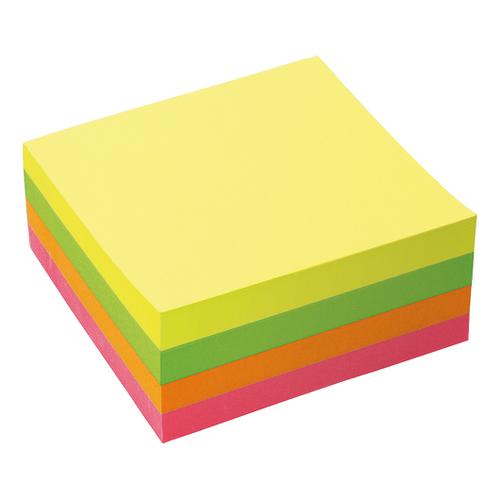 5 Star Office Re-Move Notes Cube Pad of 400 Sheets 76x76mm Neon Rainbow