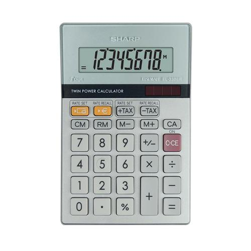 Sharp Desktop Calculator 8 Digit 4 Key Memory Battery/Solar Power 102x15x148mm Silver Ref EL330ERB