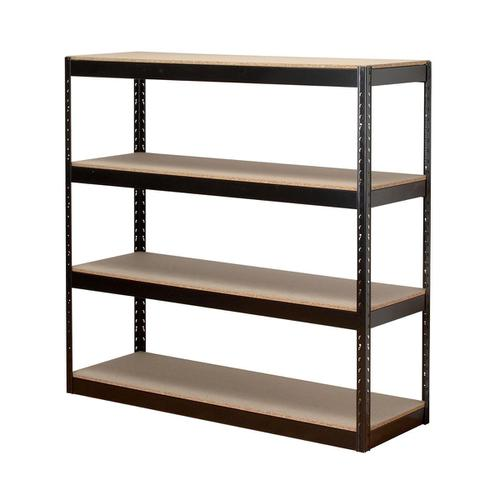 Trexus Archive Shelving Unit Heavy-duty Boltless 4 Shelves Capacity 4x 100kg W1320xD450xH1315mm Black