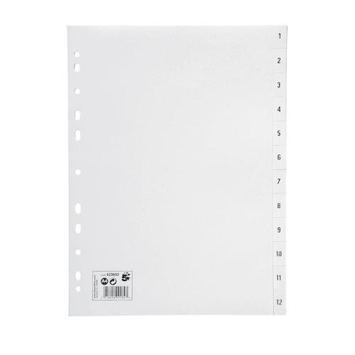 5 Star Office Index 1-12 Polypropylene Multipunched Reinforced Holes 120 Micron A4 White
