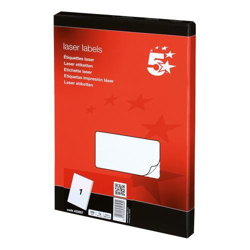 5 Star Office Multipurpose Labels Laser Copier and Inkjet 1 per Sheet 199.6x289.1mm White [100 Labels]