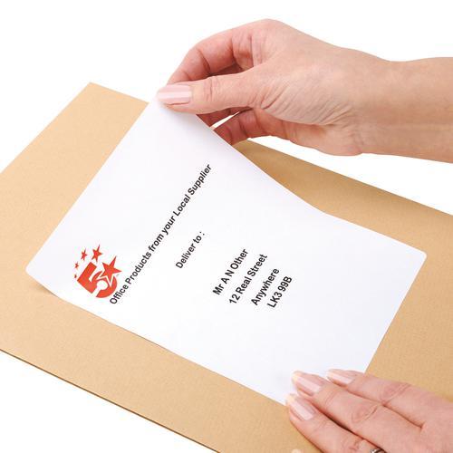 5 Star Office Multipurpose Labels Laser Copier and Inkjet 2 per Sheet 199.6x143.5mm White [200 Labels]