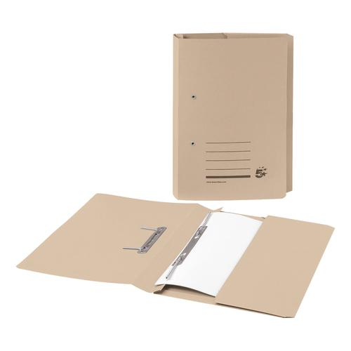 5 Star Office Transfer Spring Pocket File Recycled Mediumweight 285gsm Capacity Foolscap Buff [Pack 25]