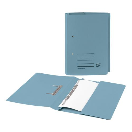 5 Star Office Transfer Spring Pocket File Recycled Mediumweight 285gsm Foolscap Blue [Pack 25]