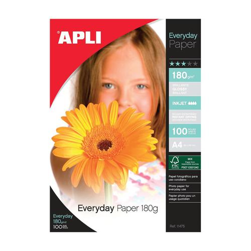 Apli Everyday Paper Glossy 180gsm A4 Ref 11475 [100 Sheets]  438960