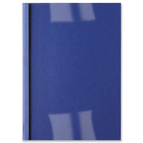 GBC Thermal Binding Covers 6mm Front PVC Clear Back Leathergrain A4 Royal Blue Ref IB451034 [Pack 100]