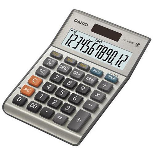 Casio Semi-desk Calculator 12 Digit 3 Key Memory Battery/Solar Power 103x31x145mm Silver Ref MS-120BM