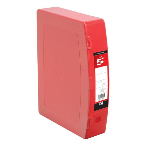 5 Star Office Box File Capacity 70mm Polypropylene Twin Clip Lock Foolscap Red