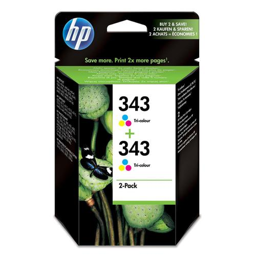 Hewlett Packard [HP] No.343 Inkjet Cartridge Page Life 260pp 7ml Tri-Colour Ref CB332EE [Pack 2]
