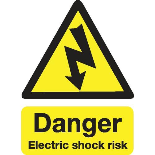 Stewart Superior Danger Electric Shock Risk Sign W150xH200mm Self-adhesive Vinyl Ref KS002SAV