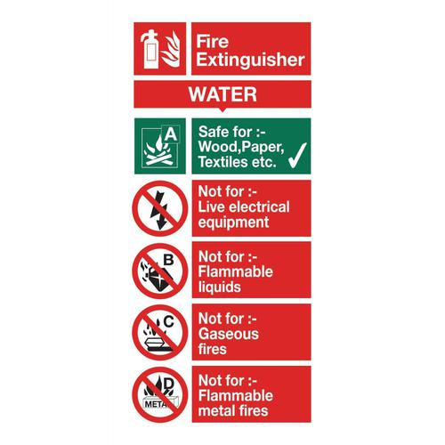 Stewart Superior Water Fire Extinguisher Safety Sign W100xH200mm Self-adhesive Vinyl Ref FF091SAV