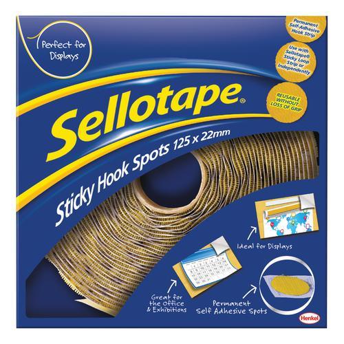 Sellotape Permanent Sticky Hook Spots in Handy Dispenser of 125 Spots Diameter 22mm Yellow Ref 1445185