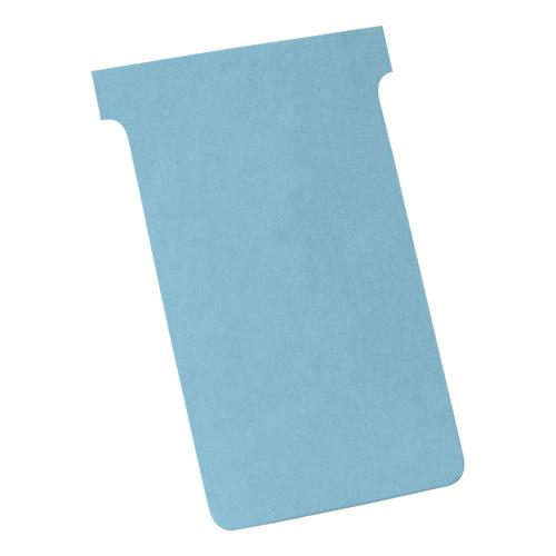 Nobo T-Cards 160gsm Tab Top 15mm W124x Bottom W112x Full H180mm Size 4 Light Blue Ref 2004006 [Pack 100]