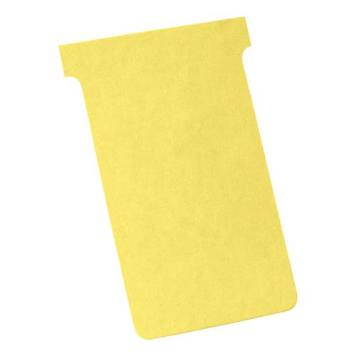 Nobo T-Cards 160gsm Tab Top 15mm W124x Bottom W112x Full H180mm Size 4 Yellow Ref 2004004 [Pack 100]