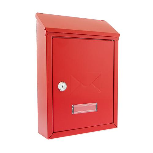 Post or Suggestion Box Wall Mountable with Fixings 223x86x320mm Red