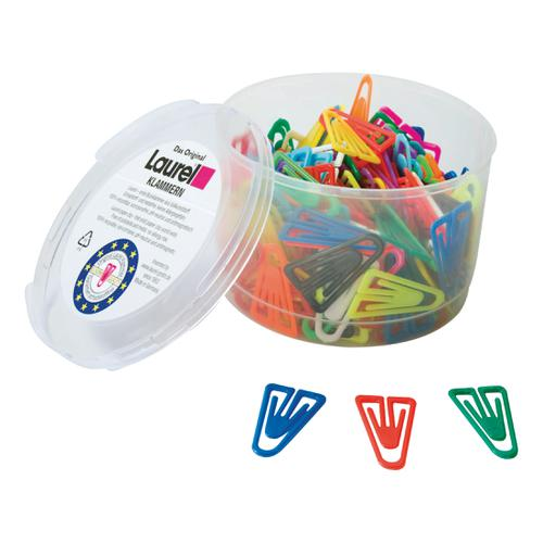 Laurel Paperclips Plastic Non-Magnetising 25mm Assorted Colours Ref 126011399 [Pack 500]