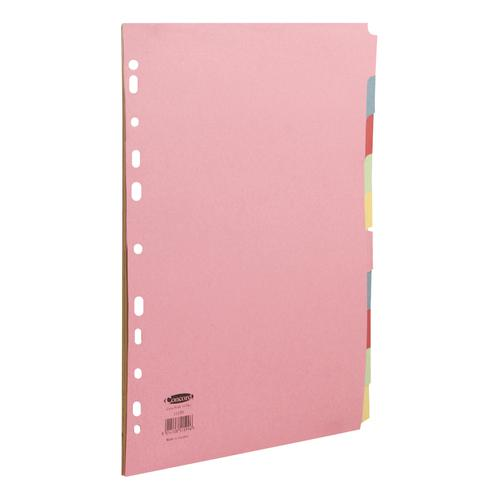 Concord Commercial Subject Dividers 10-Part Multipunched 160gsm Extra Wide A4+ Assorted Ref 51599