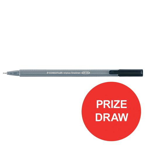 Staedtler Triplus Fineliner Pen Ergonomic Barrel 0.8mm Tip 0.3mm Line Black Ref 334-9 [Pack 10]