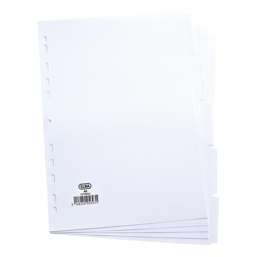 Elba Subject Dividers 5-Part Card Multipunched 160gsm A4 White Ref 100204880