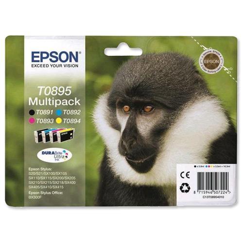 Epson T0895 InkjetCart Monkey Blk180pp 5.8ml/Cyan185pp/Mag185pp/Yell185pp 3.5ml Ref C13T08954010 [Pack 4]