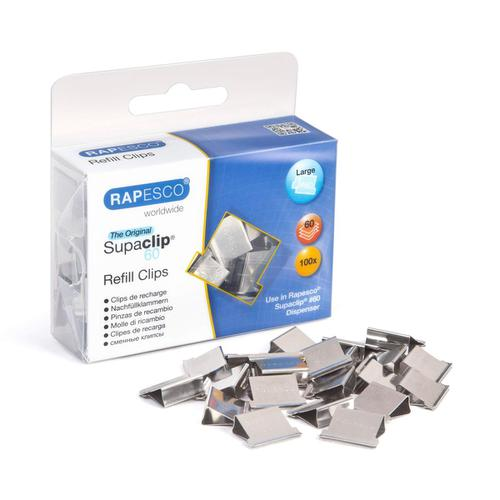 Rapesco Supaclip 60 Refill Clips Stainless Steel Ref CP10060S [Pack 100]