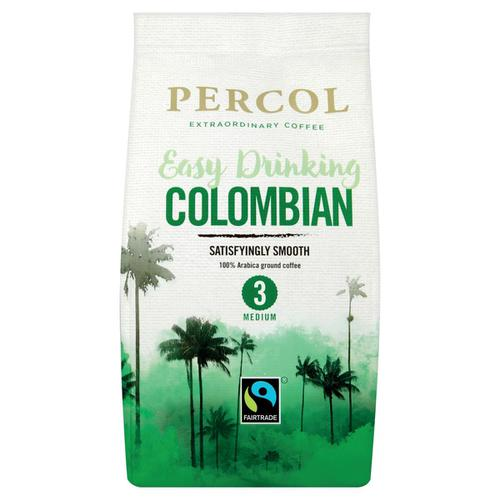 Percol Fairtrade Colombia Ground Coffee Medium Roasted 200g Ref 0403127