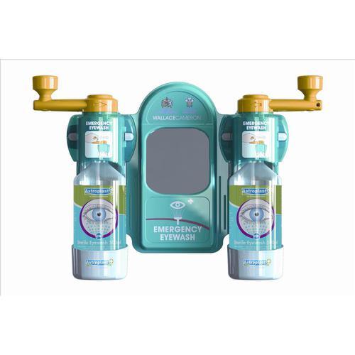 Wallace Cameron Astroplast Eyewash Station Standard Mirror 2x Eyewash Bottle Ref 2402057