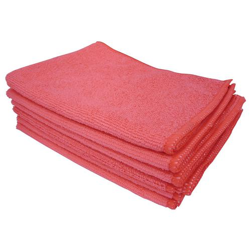 5 Star Facilities Microfibre Cleaning Cloth Colour-coded Multi-surface Red [Pack 6]