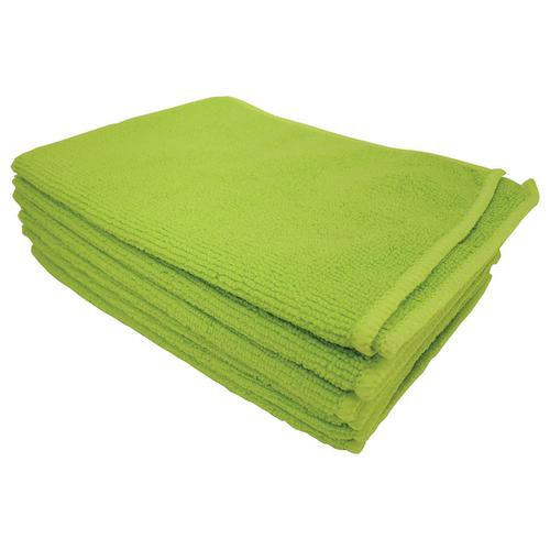 5 Star Facilities Microfibre Cleaning Cloth Colour-coded Multi-surface Green [Pack 6]