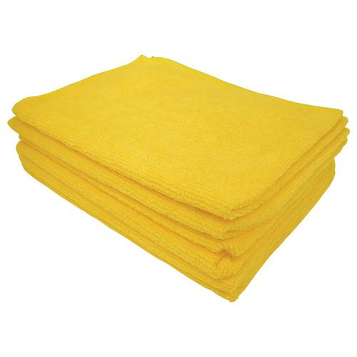 5 Star Facilities Microfibre Cleaning Cloth Colour-coded Multi-surface Yellow [Pack 6]