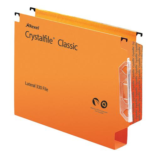 Rexel Crystalfile Extra Lateral File Polypropylene 30mm Wide-base Foolscap Orange Ref 300125 [Pack 25]