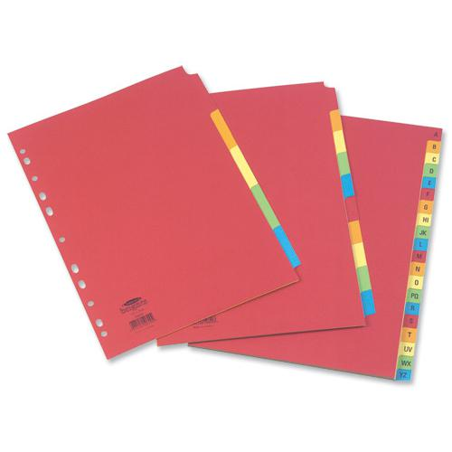 Concord Bright Subject Dividers 5-Part Card Multipunched Extra Wide 160gsm A4+ Assorted Ref 52199