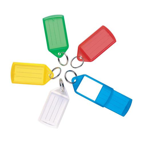 5 Star Facilities Sliding Key Fob Coloured Medium Label Area 38x22mm 25mm Ring Assorted [Pack 10]