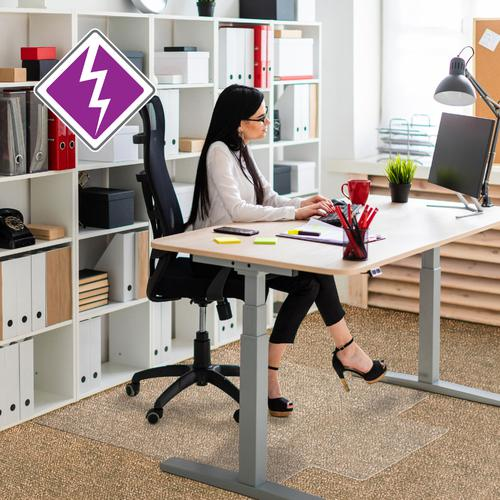 Computex Advantagemat Chair Mat PVC Rectangular with Lip For Carpets 1200x900mm Clear Ref FC319225LV