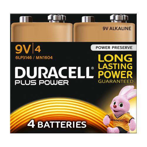 Duracell Plus Power Battery Alkaline 9V Ref 81275463 [Pack 4]