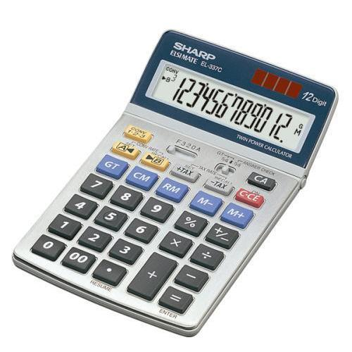 Sharp Desktop Calculator 12 Digit 4 Key Memory Battery/Solar Power 108x22x175mm Grey Ref EL337C