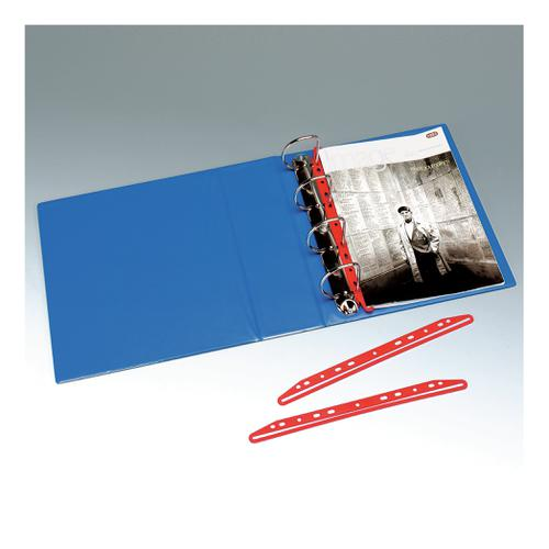 Clip Multi punched For Ring binders 300mm Red [Pack 25]