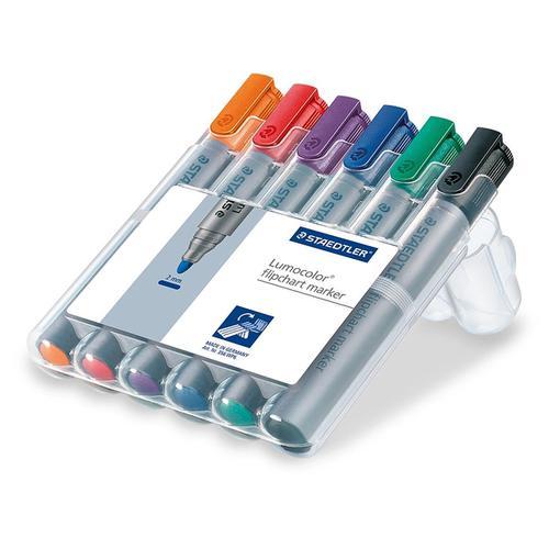 Staedtler Lumocolor Flipchart Markers Dry-safe Bullet Tip 2mm Wallet Asstd Colours Ref 356WP6 [Pack 6]