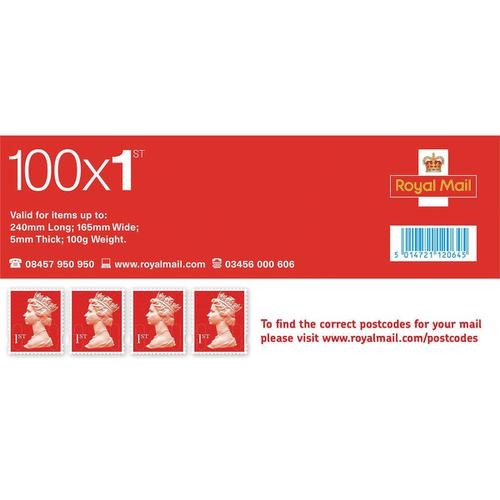 Royal Mail First Class Stamps [Pack 100]