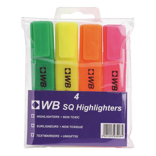 5 Star Value Highlighters Assorted [Pack 4]