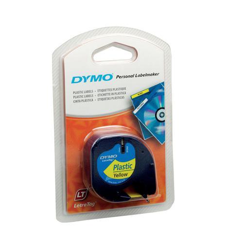 Dymo LetraTag Tape Plastic 12mmx4m Hyper Yellow Ref 91202 S0721620