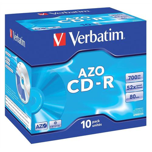 Verbatim CD-R Recordable Disk Write-once Cased 52x Speed 80 Min 700Mb Ref 43327 [Pack 10]