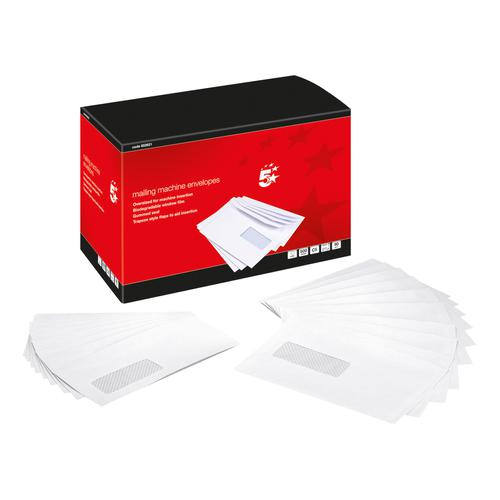 5 Star Office Envelopes Mailing Machine Wallet Gummed with Window 90gsm C5 162x238mm White [Pack 500]
