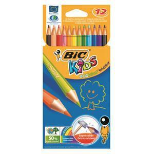 Bic Kids Evolution Colouring Pencils Wood-free Resin Wallet Vibrant Assorted Colours Ref 829029 [Pack 12]